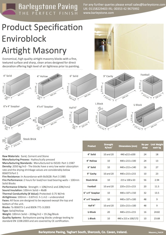 Airtight Masonry Specification Sheet
