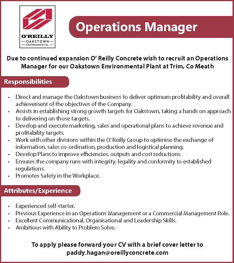 Operations Manager Job Advertisement