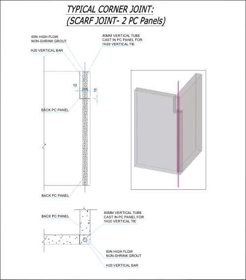 Vertical Joint Construction : Precast wall connections walls frames
