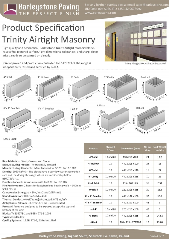 Airtight Masonry Specification Sheet